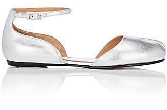 Maison Margiela Women's Tabi Leather Ankle-Strap Flats - Silver