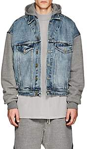Fear Of God Men's Selvedge Denim & French Terry Hooded Trucker Jacket - Gray