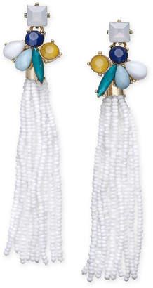 INC International Concepts I.N.C. Gold-Tone Stone & Beaded Fringe Drop Earrings, Created for Macy's