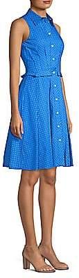 Michael Kors Women's Sleeveless Pleated Polka-Dot Shirt Dress