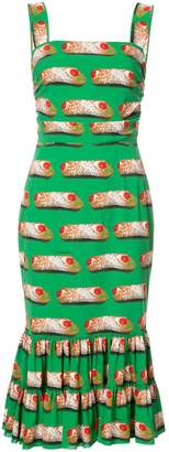 Dolce & Gabbana cannoli print midi dress