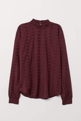 H&M Blouse with Eyelet Embroidery - Purple