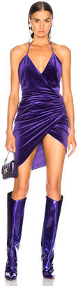 Alexandre Vauthier Jersey Velvet Ruched Halter Mini Dress