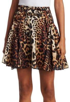 We11Done Leopard Print Flare Skirt
