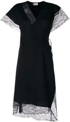 Lanvin lace trim wrap dress