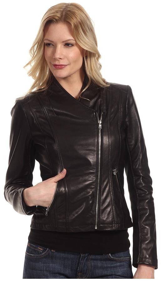 Calvin Klein Leather Moto Jacket (Black) - Apparel