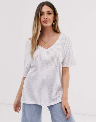 Asos Design DESIGN t-shirt with short sleeve in textured stripe with v front and back