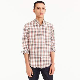 J.Crew Untucked stretch Secret Wash shirt in bronze plaid