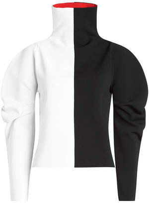 Two-Tone Turtleneck Pullover