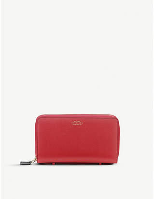 Smythson Panama double zipped grained-leather travel wallet