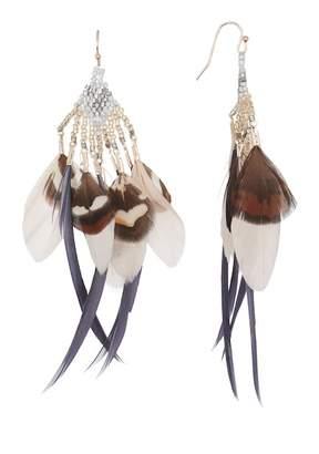Leslie Danzis Feather Seed Beaded Earrings