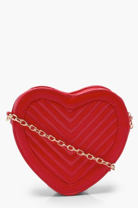 boohoo Quilted Heart Cross Body Bag