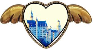 GiftJewelryShop Ancient Style Gold-plated Neuscwanstein Castle Bavaria Germany Heart With Simple Angel Wings Pins Brooch