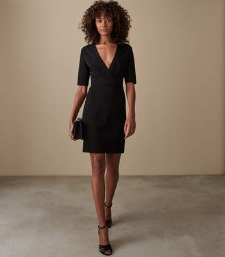Reiss REBECCA WRAP FRONT SLIM FIT DRESS Black