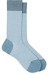 Barneys New York Men's Houndstooth Cotton-Blend Mid-Calf Socks - Lt. Blue