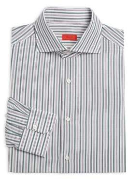 Isaia Vertical Stripe Cotton Dress Shirt