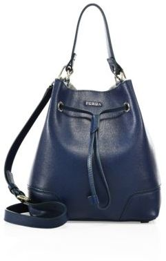 Furla Stacy Small Leather Drawstring Bucket Bag $328 thestylecure.com