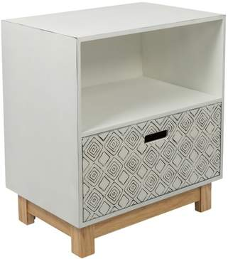 Distressed White & Natural Aloha Single Drawer Embossed Bedside Table