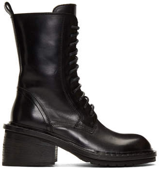 Ann Demeulemeester Black Lace-Up Heeled Boots