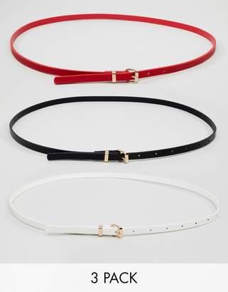 New Look 3 Pack Skinny Belts