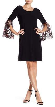 MSK Embroidered Bell Sleeve Dress