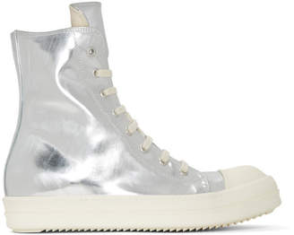 Rick Owens Silver Shiny High-Top Sneakers