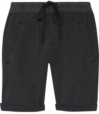 James Perse - Stretch Cotton And Modal-blend Twill Shorts - Charcoal $175 thestylecure.com