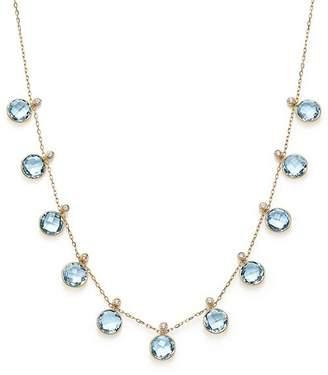 "Olivia B 14K Yellow Gold Sky Blue Topaz & Diamond Bezel Frontal Necklace, 16"" - 100% Exclusive"