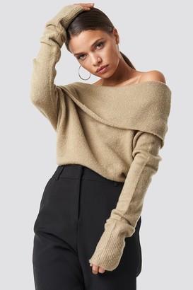 NA-KD Na Kd Offshoulder Folded Wide Sweater Beige Melange