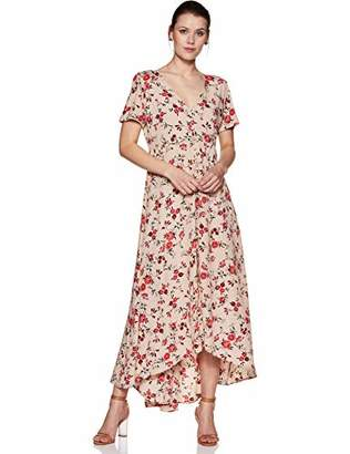 Oasis Wild Beachwear Women's Short Sleeves Floral Printed Maxi Dress with Button Detailing & Slit (
