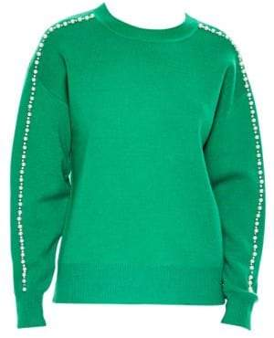 Sandro Wool-Blend Embellished Crewneck Sweater