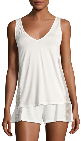CosabellaCosabella Bacall Two-Tone Lace-Inset Lounge Camisole, Ivory