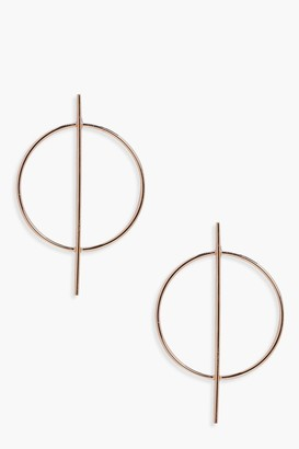 boohoo Holly Circle And Bar Hoop Earrings