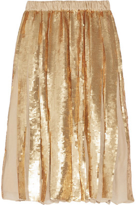 Tibi - éclair Pleated Sequined Silk-georgette Skirt - Gold $795 thestylecure.com
