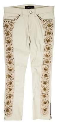Isabel Marant Embellished Low-Rise Leather Pants