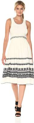 Max Studio MAXSTUDIO Women's Smocked Jacquard Dress, Ivory/Black