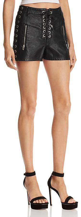BLANKNYC Lace-Up Faux Leather Shorts