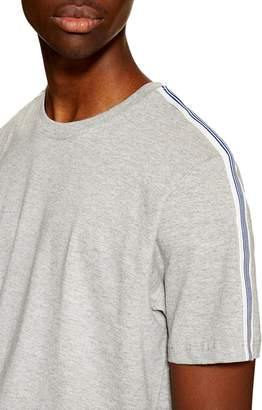 Topman Tape Heathered Crewneck T-Shirt