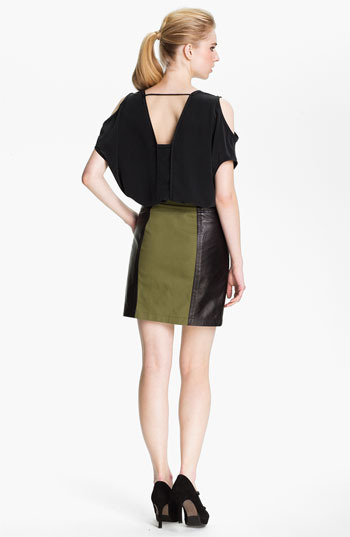 Cut25 Leather Panel Cotton Skirt