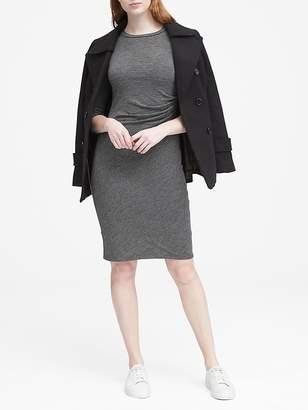Banana Republic Petite Cozy Knit Long-Sleeve Side-Rouche Dress