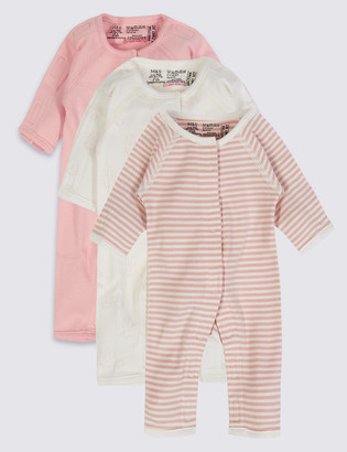 c9704bce3f41 Marks and Spencer Easy Dressing 3 Pack Premature Pure Cotton Sleepsuits