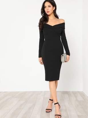 Shein Foldover Off Shoulder Slit Back Dress
