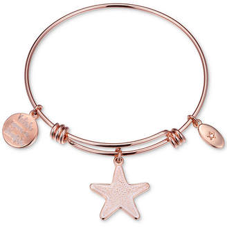 "Unwritten Wish Upon a Starfish"" Enamel Bangle Bracelet in Rose Gold-Tone Stainless Steel"
