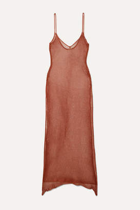 Caroline Constas Metallic Crochet-knit Maxi Dress