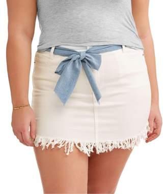 Dh By Dollhouse Women's Plus Fray Hem Skirt with Denim Belt
