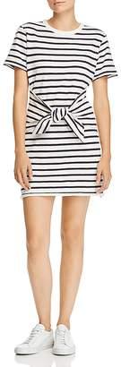 Rag & Bone Halsey Tie-Front Striped T-Shirt Dress