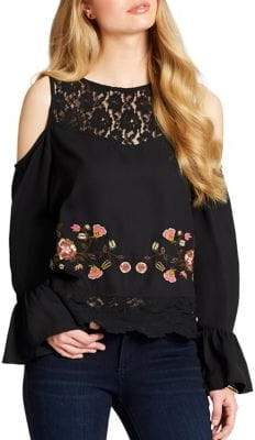 Jessica Simpson Dara Embroidery Cold Shoulder Top