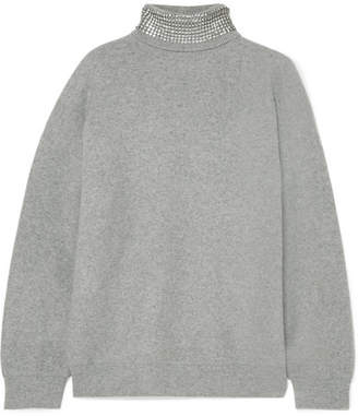 Alexander Wang Crystal-embellished Wool-blend Turtleneck Sweater - Light gray