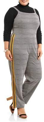 Paper Tee Women's Plus Size Menswear Plaid Jumpsuit with Varsity Side Striping