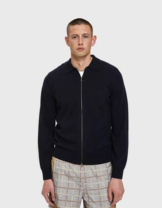 Dries Van Noten Zip-Up Cardigan in Navy